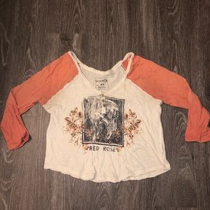 Women's Free People top tee graphic button
